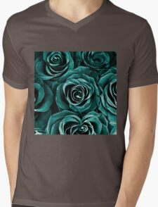 Rose Bouquet in Turquoise Mens V-Neck T-Shirt
