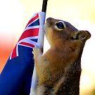 Jasper Waves The New Zealand Flag  by Betsy  Seeton