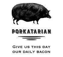 Porkatarian - Bacon Lover's Vintage Pig by AntiqueImages