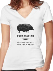 Porkatarian - Bacon Lover's Vintage Pig Women's Fitted V-Neck T-Shirt