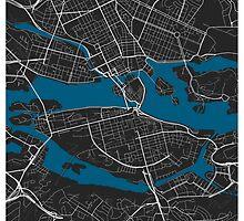 Stockholm city map black colour by mmapprints
