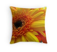 Orange & Yellow Gerbera close up Throw Pillow