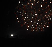 New Years Day Fire Works and Full Moon by Gregory John O'Flaherty