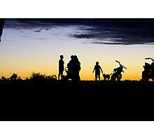 Outback Sunset - Kids on motorbikes  Photographic Print