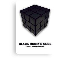 Black Rubik's Cube Canvas Print