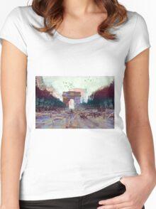 Parisian Mosaic - Piece 25 - Les Champs-Élysées Women's Fitted Scoop T-Shirt