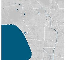Los Angeles city map grey colour by mmapprints