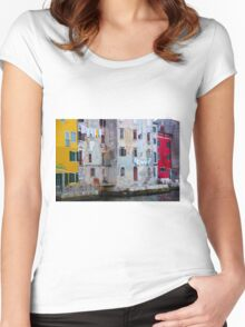 The Essence of Croatia - Pastel Houses of Rovinj Women's Fitted Scoop T-Shirt
