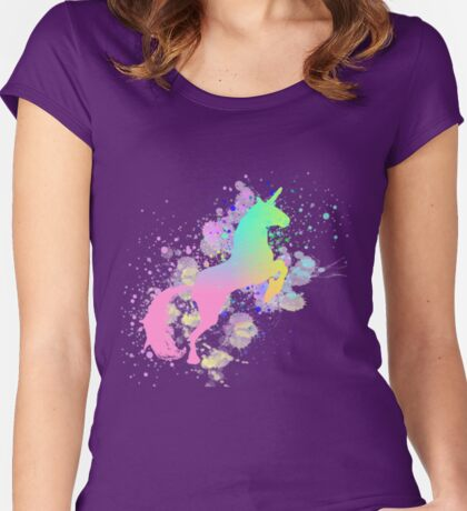 Fantasy Rainbow Paint Splattered Unicorn Women's Fitted Scoop T-Shirt