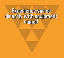 Experience varies directly with equipment ruined. by margdbrown