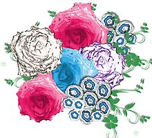 Pretty Flowers Pink Blue Rose Bouquet by Artification