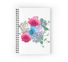 Pretty Flowers Pink Blue Rose Bouquet Spiral Notebook