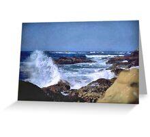 Waves kissing the Rocks 2 Greeting Card