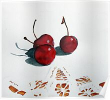 Cherries and Lace Poster