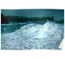Waves turning over Poster