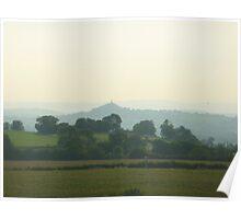 Glastonbury Tor in the evening mist Poster