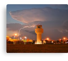 Air Traffic Control Tower and Lightning Canvas Print