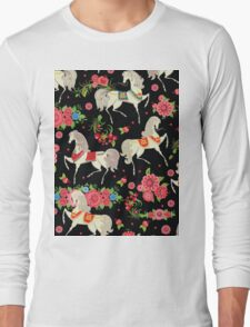 Dancing Horse with Red Rose Flower in Black Background Pattern Long Sleeve T-Shirt