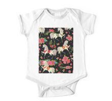 Dancing Horse with Red Rose Flower in Black Background Pattern One Piece - Short Sleeve