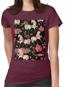 Dancing Horse with Red Rose Flower in Black Background Pattern Womens Fitted T-Shirt