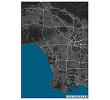 Los Angeles city map black colour Photographic Print