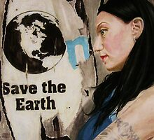SAVE THE  EARTH #3 -oil on panel, 87x59 cm, 2010- by Barbara Bonfilio
