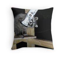 An easy meal ... raccoon kit Throw Pillow