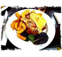 Aussie Parma with bacon, caramelized onion and BBQ sauce with a fried egg  Photographic Print