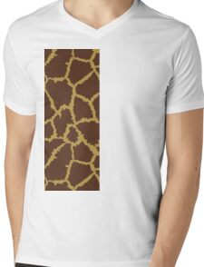 Brown Leopard Texture Mens V-Neck T-Shirt