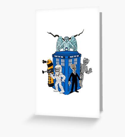 doctor who daleks cyberman silence tardis Greeting Card