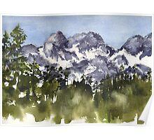Mt Rainier peaks in Summer Poster