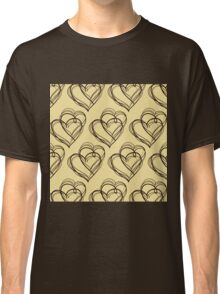 Brown Heart Pattern Classic T-Shirt