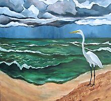 """The Storm and the Egret. (Point-of-Rocks: Siesta Key, Florida.)"" by amyglasscockart"