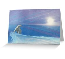 Polar bear - white snow - blue sky - natural world - macro photography prints Greeting Card