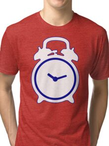 Alarm Clock and Indigo Cat Background Tri-blend T-Shirt