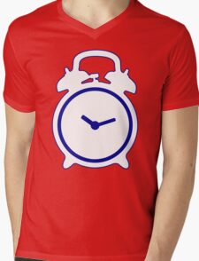 Alarm Clock and Indigo Cat Background Mens V-Neck T-Shirt