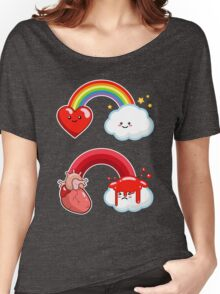 Hearts and Rainbows Morbid Kawaii Graphic Tee Women's Relaxed Fit T-Shirt