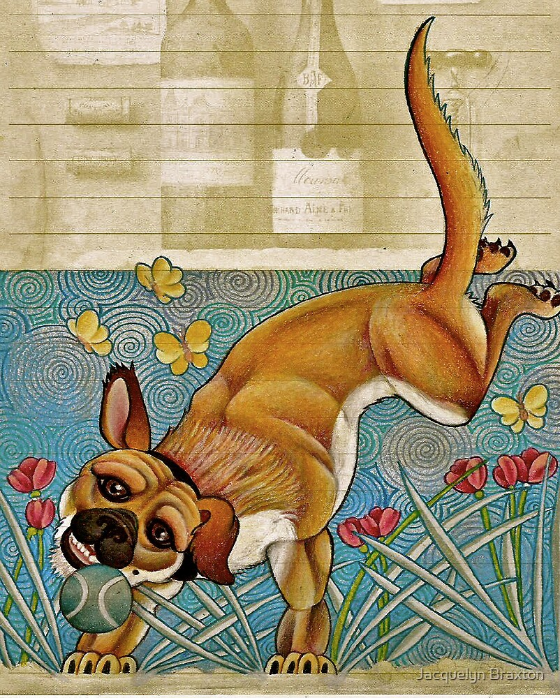 Lovable Dog With Ball by Jacquelyn Braxton