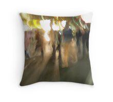 Blurred City Sidewalk Throw Pillow