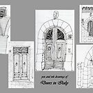 Italy-Pen and Ink drawing of doorways by James Lewis Hamilton