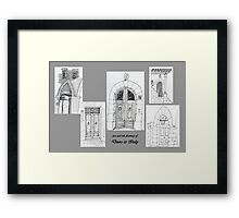 Italy-Pen and Ink drawing of doorways Framed Print