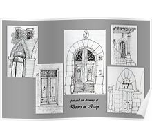 Italy-Pen and Ink drawing of doorways Poster