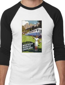 Switzerland Vintage Travel Poster Restored Men's Baseball ¾ T-Shirt