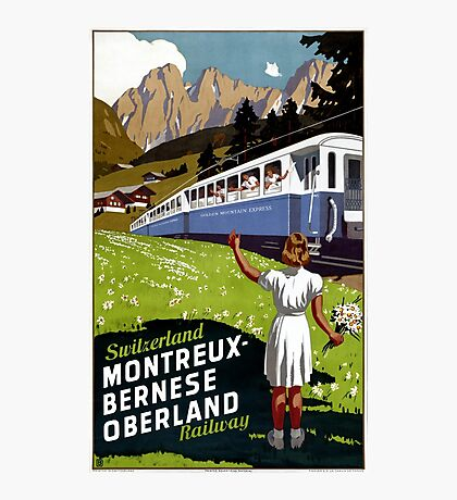 Switzerland Vintage Travel Poster Restored Photographic Print