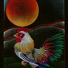 Rooster Rises at Dawn by JacquelynsArt