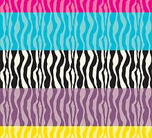 Pastel Zebra Patterns by ValeriesGallery