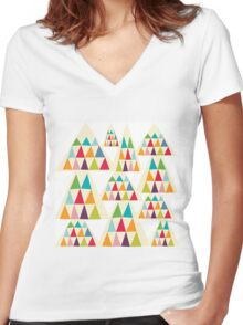 Geometric Multicolor Triangle Pattern Women's Fitted V-Neck T-Shirt