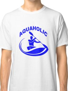 Aquaholic kayak guy classic round geek funny nerd Classic T-Shirt