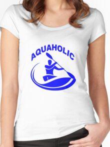 Aquaholic kayak guy classic round geek funny nerd Women's Fitted Scoop T-Shirt