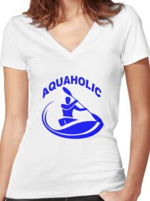 Aquaholic kayak guy classic round geek funny nerd Women's Fitted V-Neck T-Shirt